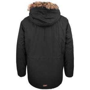Dressa Basic nagyméretű szőrmés kapucnis férfi téli parka kabát - fekete