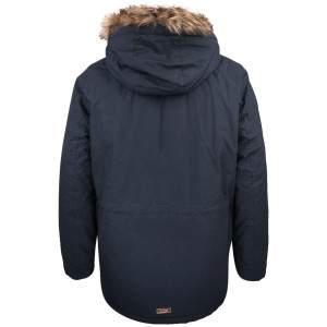 Dressa Basic szőrmés kapucnis férfi téli parka kabát - sötétkék