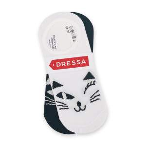 Dressa cicás női pamut titokzokni csomag - fehér-fekete - 2 pár