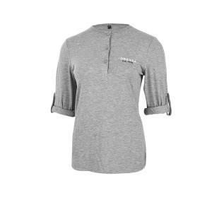 Dressa felgombolható ujjú női gombos póló - szürke