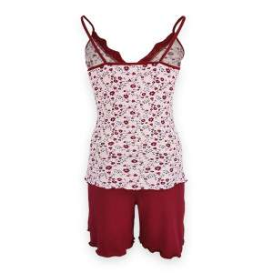 Dressa Home Carnation virágmintás csipkés spagetti pántos rövidnadrágos női pizsama - púder