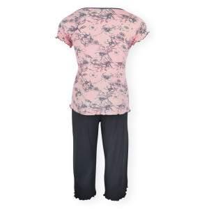 Dressa Home Daffodil virágmintás rövid ujjú női capri pizsama - rózsaszín