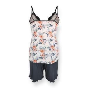 Dressa Home Hibiscus virágmintás csipkés spagetti pántos rövidnadrágos női pizsama - fehér
