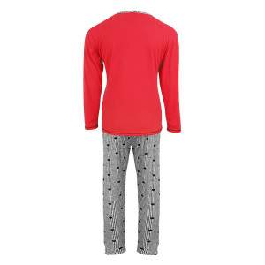 Dressa Home hosszú ujjú kétrészes gombos macis női pamut pizsama szett - piros