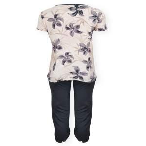 Dressa Home Lily virágmintás rövid ujjú nagyméretű női capri pizsama - bézs