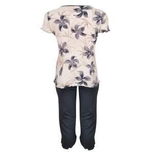 Dressa Home Lily virágmintás rövid ujjú női capri pizsama - bézs