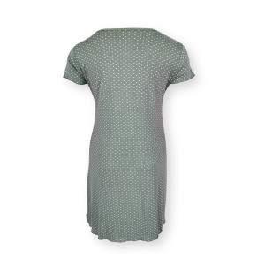 Dressa Home pöttyös csipkés rövid ujjú hosszú hálóing - khaki