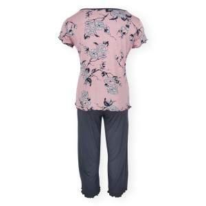 Dressa Home Rose virágmintás rövid ujjú női capri pizsama - mályva