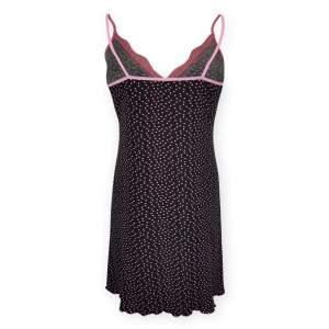 Dressa Home szívecskés csipkés spagetti pántos női hosszú hálóing - fekete