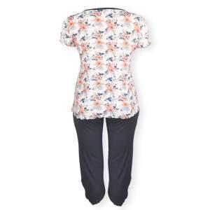 Dressa Home Hibiscus virágmintás rövid ujjú nagyméretű női capri pizsama - fehér