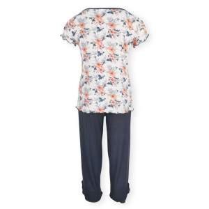 Dressa Home Hibiscus virágmintás rövid ujjú női capri pizsama - fehér