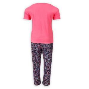 Dressa Home Love virágmintás rövid ujjú női pamut pizsama - alvómaszkkal - rózsaszín