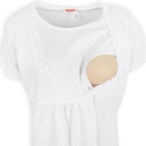 Dressa Maternity pöttyös kismama szoptatós hálóing - fehér
