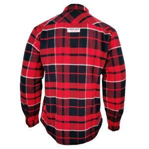 Dressa Vintage Overshirt vastag bélelt kockás férfi flanel favágó ing - piros