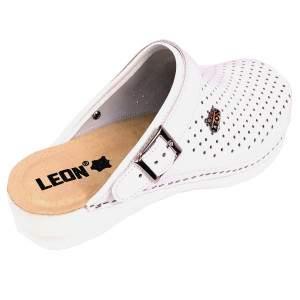 Leon PU101 női bőr klumpa - fehér