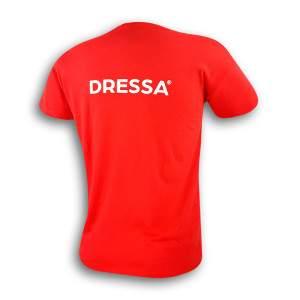 Dressa feliratos rövid ujjú pamut póló - piros