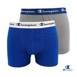 Champion Essential férfi pamut boxer csomag - Grey-Blue - 2 db