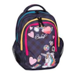 Budmil Samantha kockás hátizsák lányoknak - kék-pink