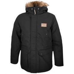 Dressa Basic szőrmés kapucnis férfi téli parka kabát - fekete