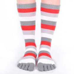 Dressa csíkos pamut lábtyű - szürke és piros