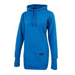 Dressa DRS Casual kenguruzsebes női pamut hosszú kapucnis pulóver - kék