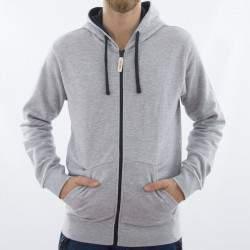 Dressa férfi pamut kapucnis cipzáras pulóver - melírszürke