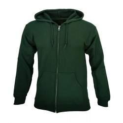 Dressa Forest cipzáros pamut kapucnis pulóver - sötétzöld
