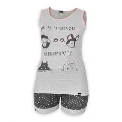 Dressa Home csíkos mintás ujjatlan rövidnadrágos női pamut nagyméretű pizsama - szürke