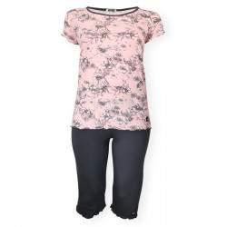 Dressa Home Daffodil virágmintás rövid ujjú nagyméretű női capri pizsama - rózsaszín