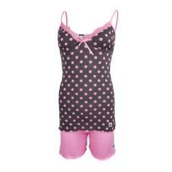 Dressa Home pöttyös csipkés spagetti pántos rövidnadrágos női pizsama - szürke