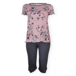 Dressa Home Rose virágmintás rövid ujjú nagyméretű női capri pizsama - mályva