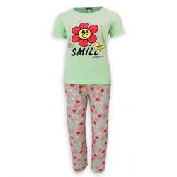 Dressa Home Smile virágmintás rövid ujjú női pamut pizsama - alvómaszkkal - világoszöld