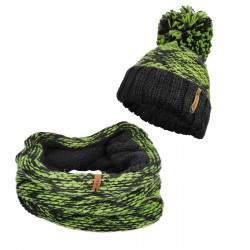 Dressa horgolt bojtos sapka körsál szett - zöld