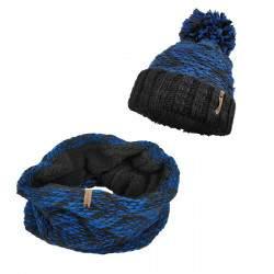 Dressa horgolt bojtos sapka körsál szett - kék