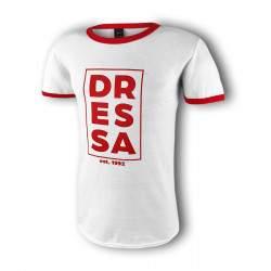 Dressa Rectangle Red rövid ujjú feliratos pamut póló - fehér