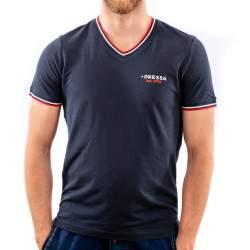 Dressa Collection V nyakú férfi piké póló - sötétkék