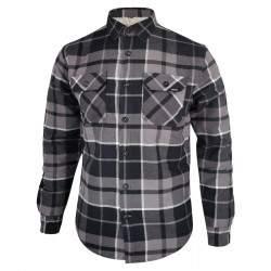 Dressa Vintage Overshirt vastag bélelt kockás férfi flanel favágó ing - szürke