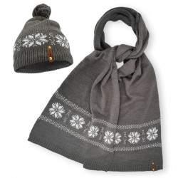 Dressa Winter norvég mintás téli kötött sapka sál szett - szürke