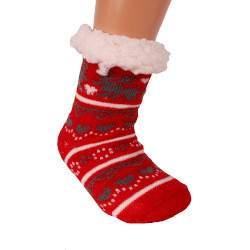 HDI rénszarvasos gyerek mamusz zokni - piros