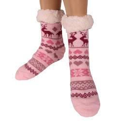 HDI rénszarvasos női mamusz zokni - rózsaszín