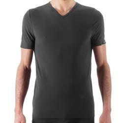 Issimo 251 férfi V nyakú microfibra póló - sötétszürke