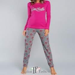 Laboni női kétrészes pamut pizsama - rózsaszín-szürke