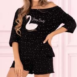 Livia Corsetti Snowflake Swan hattyú mintás pamut rövidnadrágos pizsama