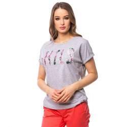 Heavy Tools Mynta női rövid ujjú póló - melírszürke
