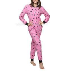 Poppy PEZ nyakörves cica mintás kezeslábas női pizsama - Középpink - fekete