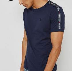 Tommy Hilfiger férfi pamut póló - sötétkék