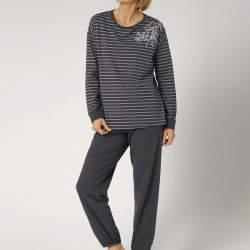 Triumph PK 02 csíkos hosszú ujjú női biopamut pizsama