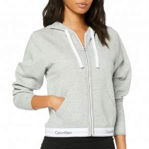 Calvin Klein cipzáros kapucnis női pulóver - melange szürke