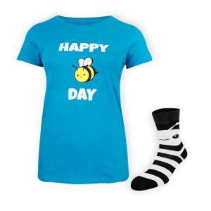 Dressa Happy Day méhecskés rövid ujjú női biopamut póló - ajándék zoknival - kék