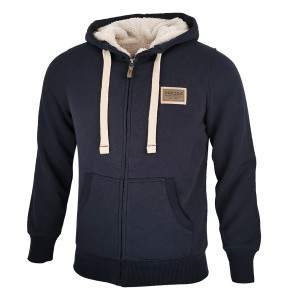 Dressa Home cipzáros kapucnis sherpa bundás bélelt pulóver - sötétkék